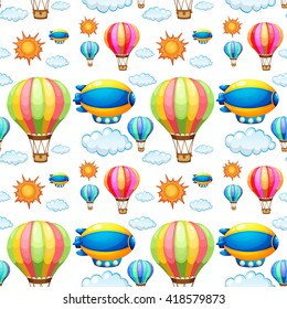 Seamless background with balloons in the sky illustration