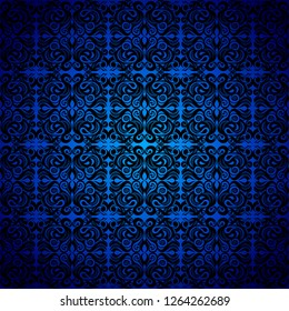 Seamless background baroque, Damascus style black color ornament, blue background. Neoclassic elements decoration. Vintage luxury vector pattern. Retro Victorian. Wallpaper, print packaging, textiles.