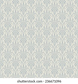 Seamless background baroque style blue color. Vintage Pattern. Retro Victorian. Ornament in Damascus style. Elements of flowers, leaves. Vector illustration. Wallpaper, print packaging, textiles.