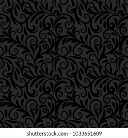Seamless background baroque style dark background. Vintage Pattern.
