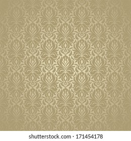 Seamless background baroque style gold color. Vintage luxury Pattern. Retro Victorian. Ornament Damascus style. Elements of flowers, leaves. Vector illustration. Wallpaper, print packaging, textiles.