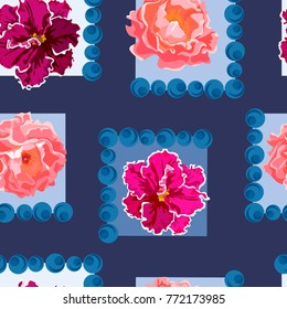 Seamless background with beautiful flowers and berries. Design for cloth, wallpaper, gift wrapping. Print for silk, calico and home textiles.Vintage natural pattern.