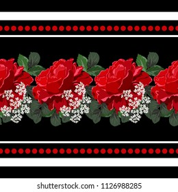Seamless background with beautiful red roses. Design for cloth, wallpaper, gift wrapping. Print for silk, calico and home textiles.Vintage natural pattern. Horizontal border.