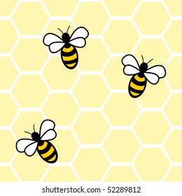 Seamless background with bees and honey