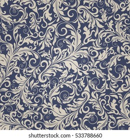 Seamless background of beige and blue color in the style of Damascus.  Vintage ornament. Use for wallpaper, printing on the packaging paper, textiles.