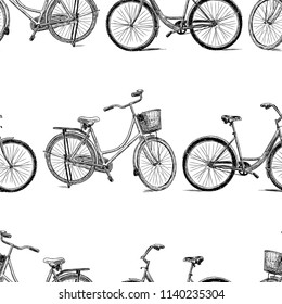 Seamless background of bicycles sketches