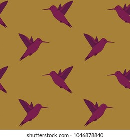 Seamless background with birds colibri. Pattern fashion with exotic birds