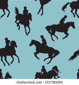 seamless background of black silhouettes of sports horses and riders, show jumping isolated on colored background, endless equestrian pattern