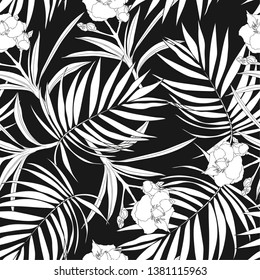 Seamless background of black and white silhouettes of tropical palm leaves and oleander flowers. Spring-summer. Stylish exquisite pattern for greeting cards, big discounts, sale, dresses, packaging