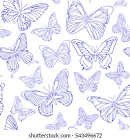 Seamless background with blue butterflies. Hand drawn pattern.Vector. Outline drawing. Pattern for paper products or fabrics.