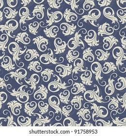 Seamless background blue damask-style