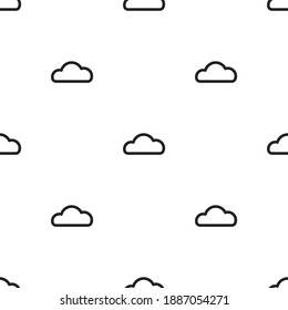 Seamless background with blue line clouds on white background. Overcast pattern. Vector illustration. Cartoon weather wallpaper. Funny nature  backdrop.
