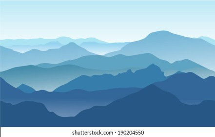 Seamless background. Blue mountains in the fog.