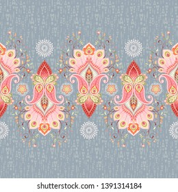 Seamless background with a border and delicate ornament. Paisley traditional flower with peacock feathers
