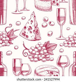 seamless background with bottles and glasses of wine, grapes and cheese