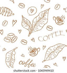 "Seamless background with branch of coffee and coffee beans and cups and hearts and hand lettering ""coffee"". Hand drawn coffee background vector illustration in sketch style."