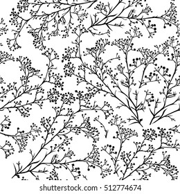 Seamless background with branches of beautiful hand-drawn silhouette gypsophila in black and white colors. Vector illustration
