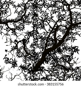 Seamless background. The branches of the tree. Vector