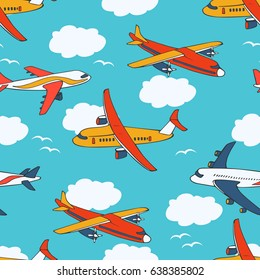 Seamless background with bright airplanes in the sky with clouds and seagulls. The illustration can be used for the design of children's clothing, wrapping paper, wallpaper, stationery and so on.
