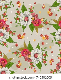 seamless background with bright colors. Floral background.