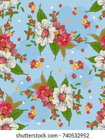 seamless background with bright colors. Floral background