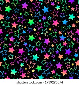 seamless background with bright neon stars