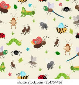 Seamless background bugs and beetles, ant and caterpillar, grasshopper. Vector illustration