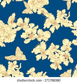Seamless background with butterflies and blossom apricot. Elegant floral elements for design. Can be used for wallpaper, decoration for bags and clothes. Hand-drawn contour lines and strokes.