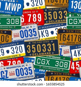 Seamless background by car numbers of vehicle registration in USA states. Metal sign boards automobile plates with digits and letters. Vector illustration