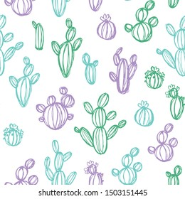 Seamless background of cactus sketches drawn by hand.