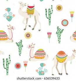 Seamless background with camels with ethnic saddles, cactus and flowers. Vector illustration.