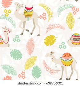 Seamless background with camels with ethnic saddles, palm trees, leaves and branches. Vector illustration.