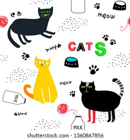 Seamless background with cartoon animals at home. domestic colorful cats  endless pattern. Best for children fabric print and decorations.