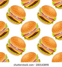 Seamless background with cartoon style hamburgers