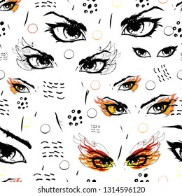 seamless background with catching eyes, endless hypnotic eye