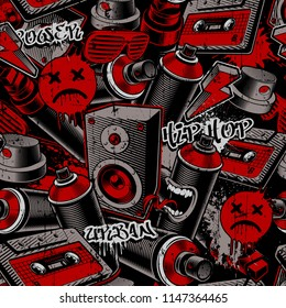 Seamless background with characters of graffiti, tags, blots on dark background.