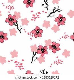 Seamless background with cherry blossoms. A pink flower hand-drawn by ink on white backgraund . Spring floral background for invitation or fabric. Vector illustration - векторная графика