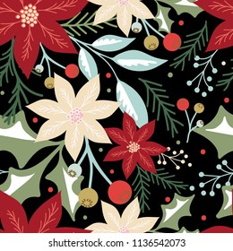Seamless background with Christmas floral design