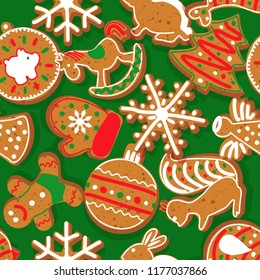 Seamless background - Christmas ginger biscuits. New Year's background. Wrapping paper. Vector illustration.