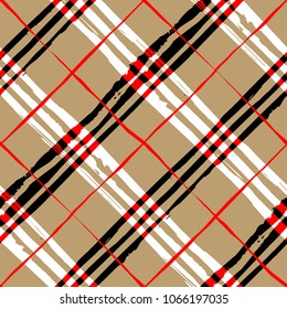 Seamless background. Classic abstract diagonal plaid pattern in grunge style. Vector image.