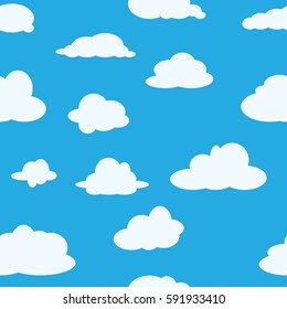 Seamless background with clouds. Print of children clothing. Background for wallpaper. Vector illustration.