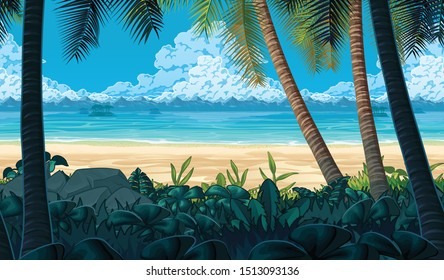Seamless background with coast, ocean, palms and clouds. Sandy beach. Horizontal tiles. Parallax ready. For use in developing, prototyping  adventure, side-scrolling games or apps.
