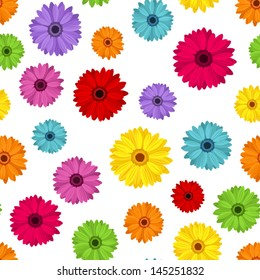 Seamless background with colored gerbera. Vector illustration.