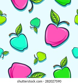 Seamless background with colorful appels