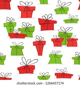 Seamless background with colorful Christmas presents isolated on white background, illustration.