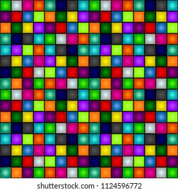 Seamless background - colorful, glowing, three-dimensional cubes. Dance floor, palette of colors. Club party. Vector.