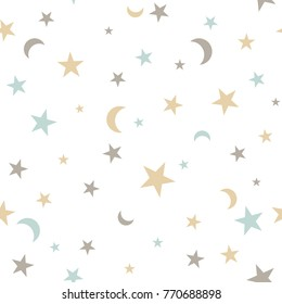 seamless background with colorful stars and moon