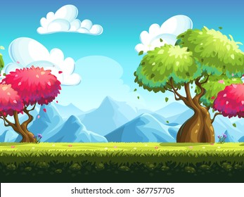 Seamless background colorful trees in the forest against the backdrop of the mountains