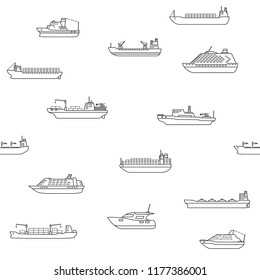 Seamless background of commercial cargo and passengers ships. Sea transportation vehicle. Transport boat. International water trade concept. Vector illustration.