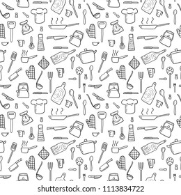 Seamless background - cooking utensils and kitchen tools - hand drawn doodle vector.